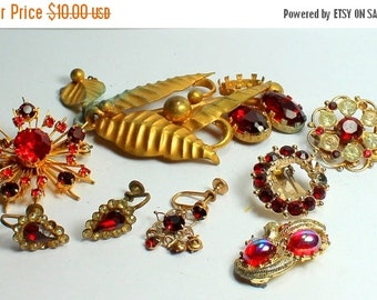 BIG SALE Destash Craft lot of Vintage and Salvaged Red Rhinestone Jewelry Parts and Pieces