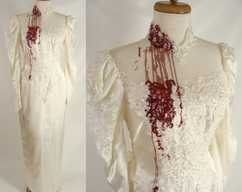 size 8 M upcycled vintage 80s Glam Wedding Dress Bloody Vampire Bride Halloween Costume ~ Optional Tatters Holes and Stains upon Request