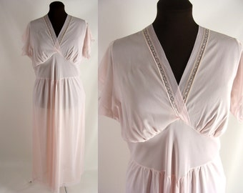 As-Is. vintage 50s Nightgown. Plus Size Pink Nylon Nightgown. or Customizable Zombie Costume OPTIONAL BLOOD Tatters ~ Plus Size 1X XXL