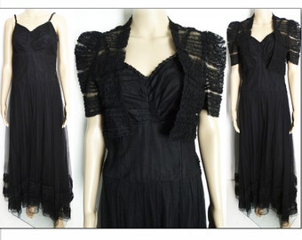 Vintage 1930s Dress | Black Dress | 1930s Bias Cut Dress | 1930s Evening Dress | Bolero Jacket  | Old Hollywood Dress | 30s Dress