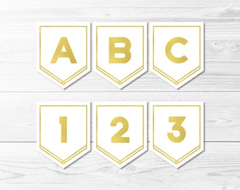 White and Gold Banner -- Gold Foil Banner, Birthday Banner, Party Banner, Bridal Shower Decor, Baby Shower, Printable, Instant Download