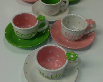 Child's Personalized Tea cup and Saucer pink & purple polkadots