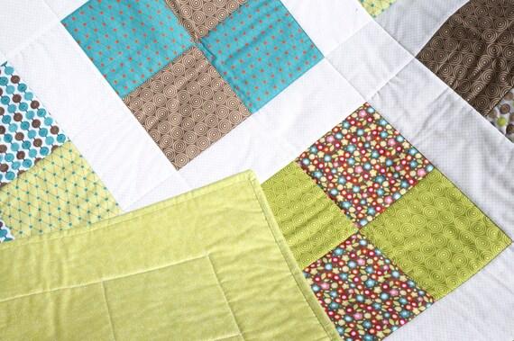 "Baby Boy Quilt - Modern Baby Quilt - Blue Baby Blanket - Green Baby Quilt - Girl Crib Quilt - Baby Boy Blanket - Baby Bedding 38"" x 38"""