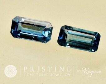 Loose Ceylon Blue Sapphire Emerald Cut Matching Pair Over 2 Carats
