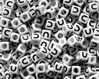 Letter-U, 7x7mm Cube Alphabet Beads Brite White with Glossy Black Letter U, 100pc