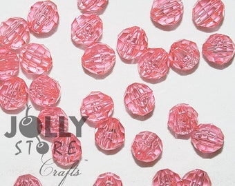 6mm Round Faceted Beads - Pink Translucent - 500 piece bag
