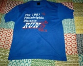 1987 Philadelphia Distance Run vintage shirt YMCA medium blue soft