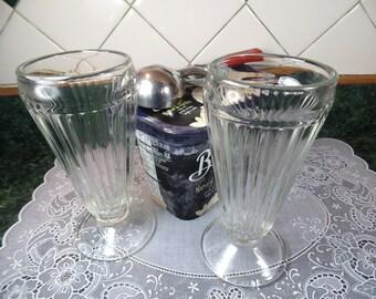 Vintage Soda Fountain Glasses - Two Soda Fountain Glasses - Soda Fountain Glasses - 1950s Soda Fountain Glasses - Tall Soda Fountain Glasses