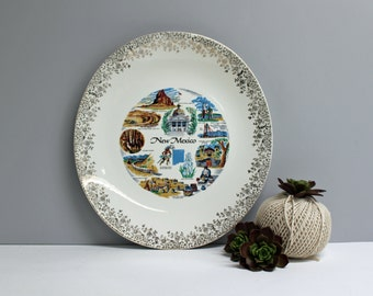 Vintage New Mexico souvenir plate - oval plate with iconic New Mexico images - road trip souvenir - plate wall decor