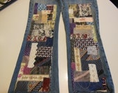 RESERVED Patchwork jeans, patched denim, up cycled patched jeans, boho, my art your jeans, DIY patches, trendy denim, hippie, gypsy