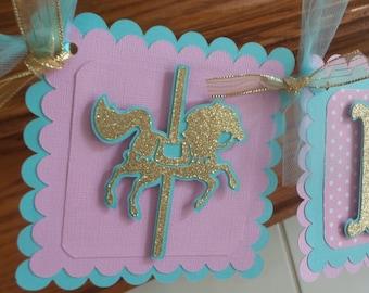 Carousel Birthday Banner, Pink Aqua Gold glitter carousel banner, 1st birthday banner, carousel high chair banner, photo banner