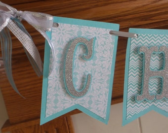 Cheers to 30 Years, 40, 50, 60,70 years birthday banner, Blue damask, chevron silver letters birthday pennant flag banner,  banner