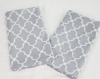 Grey Lattice Cloth Napkins - Double Sided, Thick and Large - set of 2