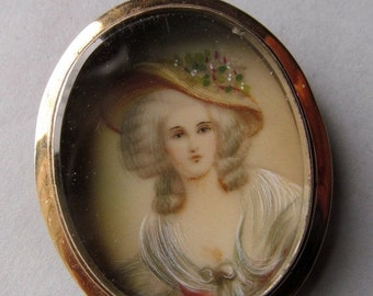 On Sale Victorian Hand Painted Miniature 14 Karat Gold Brooch Antique Pin