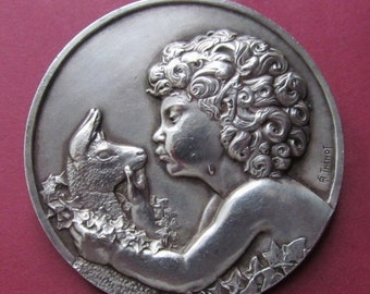 On Sale Art Deco French Brooch Jeune Faune Antique Art Medal Brooch Signed Thenot  SS410