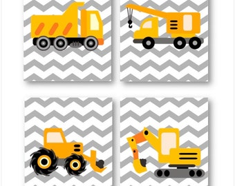 Construction Nursery Decor // Construction Wall Art // Construction Trucks Art Prints // Art for Boys Room // Four PRINTS ONLY