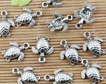 7 Sea Turtle Charms. Turtles, Ocean Charm, Underwater Charms, Sea Charms, DIY Charms, Silver Charms, Jewelry Supplies, Beading Supplies
