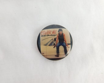 1980's Bruce Springsteen The Boss Cover Me Pin Pinback Button  DR2