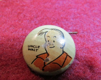 1940's Cartoon Pinback Button From Kelloggs Pep Cereal  Uncle Walt