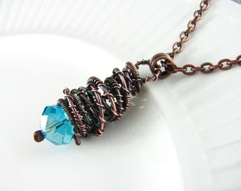 Wire Wrapped Pendant Turquoise Necklace Crystal Necklace Copper Necklace Wire Wrapped Jewelry Copper Wire Wrap Necklace Copper Jewelry