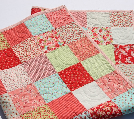 Baby girl quilt kit little ruby bonnie and camille for moda fabrics blue pink cottage - Do it yourself moda ...