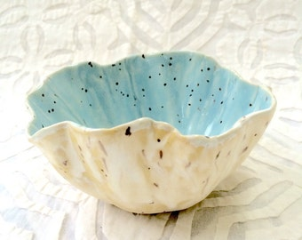 Ceramic Bowl, Robins Egg Blue Bowl, organic shape, serving bowl, stoneware, dip bowl, pastel bowl, nut bowl, snack bowl