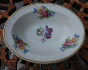Vintage 1960s Oval Flowered Dish Syracuse China Purple and Blue Flowers Yellow/Blue/Pink/Yellow Small Soap Dish