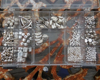 Mixed NIB Lot of Silver Tone Beads in Container Jewelry Making Supplies Small Tubes Destash Never Been Used Starter Kit