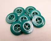 """Dark Sea Green: 5/8"""" (16mm) Green-Blue Buttons with Rim Detail - Set of 8 Vintage New / Unused Matching Buttons"""