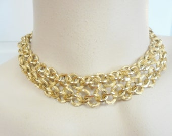 Vintage Multi-Link Collar Necklace / Choker Gold Plated Tone Retro 80 Grams 1960's Mod Boho Mid Century Statement