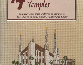 14 New Mormon Temples Counted Cross Stitch Patterns of Temples of The Church of Jesus Christ of Latter Day Saints Booklet