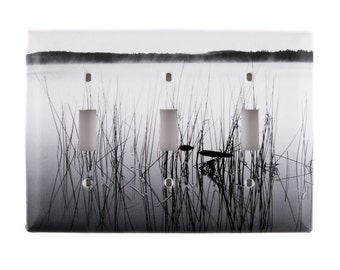Morning on the Lake, Light Switch Plates, Triple Toggle, Black and White