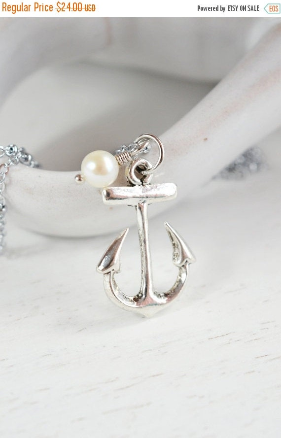 ON SALE Anchor Necklace - Bridesmaids Necklaces, Bridesmaid Gift, Wedding Jewelry, Anchor Pendant, Fresh Water Pearl Necklace