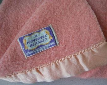 1940s 50s PEPPERELL Blanket Rayon Wool Cotton