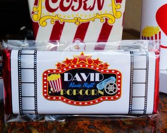Movie Night candy bar wrapper, Movie night gift set, Movie night popcorn, Movie Night Mike & Ike, Movie Night popcorn, Cannes movie festival