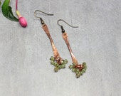 RESERVED for Cats - August Birthstone Peridot Hammered Copper Dangle Earrings.