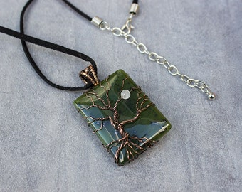 Jade Tree of Life Necklace WireWrapped Pendant, Moonstone and Copper Wire Wrapped Necklace.