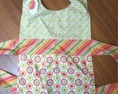 Hot Pink and Orange Floral Gingham Girls Apron. Kids sized Apron Perfect for All your Valentine's Baking and Crafts