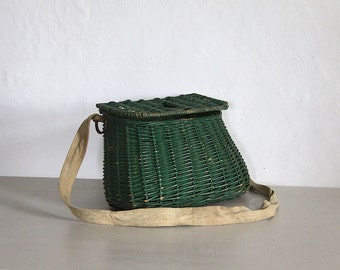 Vintage French Fishing Basket, Hand Woven Basket
