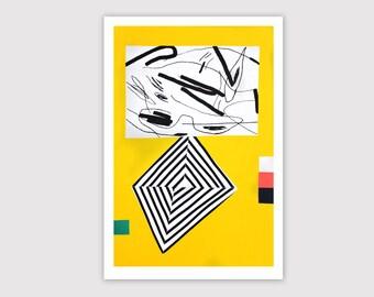 Screenprint handmade original 40 X 60 cm yellow - black - ...  / Géométrie télescopique