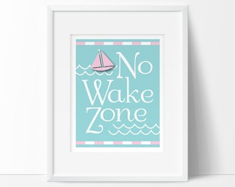 pink nautical, nautical nursery, Baby girl nautical, no wake zone, printable nursery wall art, INSTANT DOWNLOAD, nautical baby nursery decor