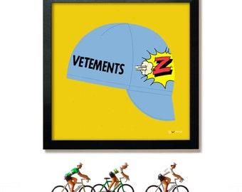 Bike Art Print, Tour de France, Greg LeMond, Z Cycling Cap Print