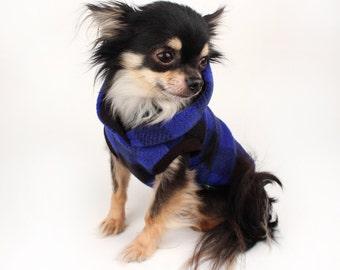 Dog Clothes Blue Buffalo Plaid Cute and Trendy fleece dog hoodie ltd. edition