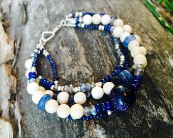 Multi Strand Beaded Bracelet - Goldstone, Labradorite, Sapphire, Lapis, Lampwork, Pearl, Kyanite, Riverstone, Thai Silver - Elysian Rivers