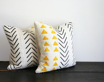 Modern Hand Painted Geometric Woven African Fabric Throw Pillow- Chevron