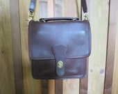 Coach Brown Station Bag - Vintage Coach 5130 Chocolate Brown Cross body  -  Coach Leather Top Handle Purse