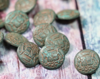 5 Vintage Aged Metal Buttons