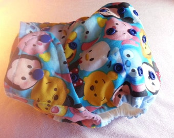 SassyCloth one size pocket diaper with tsum tsum cotton print. Made to order.