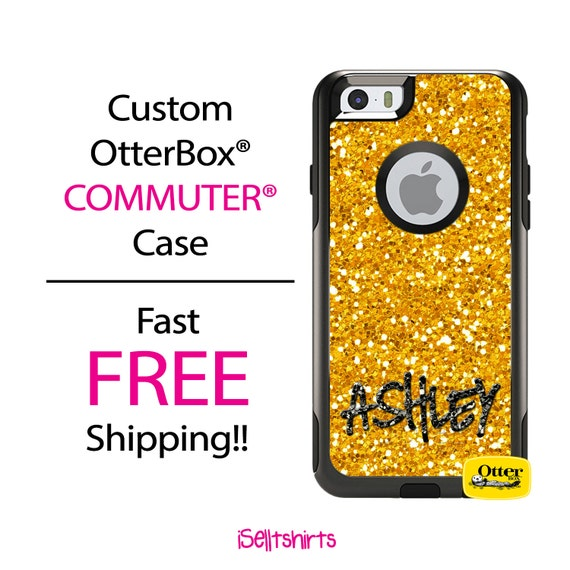 iPhone OtterBox Commuter Case for iPhone 7, 7 Plus, 6/6s, 6 Plus/6s Plus, 5/5s/SE, 5c Galaxy S7 S6 S5 Note 5 Monogrammed Glitter Bling Case