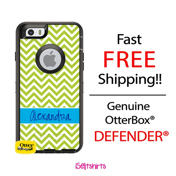 OTTERBOX DEFENDER iPhone 6 5 5S 5C 4/4S iPod Touch 5G Case Custom Lime Green Skinny Chevron Blue Name Band - Monogram Personalized ID